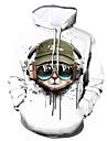 Per uomo Felpa con cappuccio pullover Pop art Animali Con cappuccio Giornaliero Per uscire Stampa 3D Informale Felpe con cappuccio Felpe Bianco