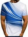 Муж. Футболка Рубашка Графика С принтом С короткими рукавами Повседневные Верхушки Уличный стиль Круглый вырез Синий Зеленый Оранжевый