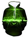 Herre Hattetrøje Grafisk Hætte Daglig I-byen-tøj 3D-tryk Hættetrøjer Sweatshirts Grøn