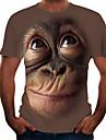 Herre T-Shirts T-shirt Skjorte 3D-udskrivning Grafisk Orangutang Dyr Trykt mønster Kortærmet Fest Toppe Chic og moderne Sjov Bekvem Stor og høj Rund hals Lyserød Sort Brun / Sommer