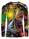 Men\'s T shirt Shirt Rainbow Graphic Print Long Sleeve Daily Tops Basic Elegant Round Neck Rainbow