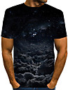 Men\'s T shirt Shirt Graphic Plus Size Print Short Sleeve Daily Tops Basic Exaggerated Round Neck Black