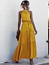 Γυναικεία Φόρεμα ριχτό από τη μέση και κάτω Μακρύ φόρεμα Κίτρινο Πράσινο του τριφυλλιού Πορτοκαλί Μαύρο Ρουμπίνι Βαθυγάλαζο Αμάνικο Πουά Πουά Κρύος ώμος Καλοκαίρι Δένει στο Λαιμό καυτό Μπόχο Αργίες