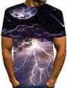 Homens Camisetas Camiseta Camisa Social Grafico Relampago MOON Estampado Manga Curta Diario Blusas Basico Designer Moda de Rua Grande e Alto Decote Redondo Preto