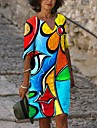 Women\'s Shift Dress Knee Length Dress Blue Long Sleeve Print Print Fall V Neck Hot Vintage Sexy Holiday Going out vacation dresses Loose 2021 S M L XL XXL 3XL 4XL 5XL