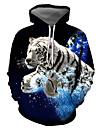 男性用 プルオーバーフーディースウェットシャツ グラフィック 動物 フード付き 日常 お出かけ 3Dプリント ベーシック カジュアル パーカー トレーナー ブルー