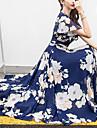 여성용 쉬폰 드레스 미디 드레스 살구 푸른 옐로우 퓨샤 짧은 소매 플로럴 프린트 봄 여름 V 넥 뜨거운 홀리데이 비치 M L XL XXL 3XL 4XL 5XL / 플러스 사이즈 / 플러스 사이즈