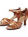 Mulheres Sapatos de Danca Latina Danca de Salao Sapatos de Salsa Line Dance Sandalia Presilha Salto Personalizado Leopardo Transparente Preto Fivela Adulto