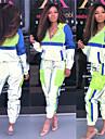女性用 2個 トラックスーツ ジョギングスーツ ストリート カジュアル 2個 冬 長袖 エラステイン 反射 速乾性 高通気性 フィットネス ジムトレーニング 演出 ランニング しつけ用品 スポーツウェア パーカー パープル ブルー オレンジ ハーフジップ アクティブウェア 伸縮性あり / アスレイジャー