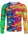 Муж. Футболка 3D печать Графика Длинный рукав Повседневные Верхушки Классический Цвет радуги