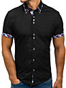 Hombre Camisa Un Color Manga Corta Oficina / Carrera Tops Trabajo Casual / Diario Oficina / Negocios Cuello Americano Azul Piscina Blanco Negro