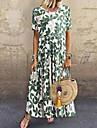 Women\'s Swing Dress Maxi long Dress Green Short Sleeve Floral Leaf Print Summer Round Neck Hot Casual Mumu 2021 S M L XL XXL
