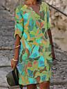 Women\'s Shift Dress Knee Length Dress Blue Half Sleeve Floral Print Summer V Neck Hot Elegant Loose 2021 M L XL XXL 3XL