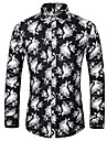 Men\'s Shirt Graphic Plus Size Print Long Sleeve Daily Tops Basic Button Down Collar Black