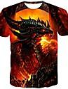 Hombre Camiseta Camisa Grafico Estampado Manga Corta Diario Tops Chic de Calle Escote Redondo Rojo
