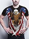 Men\'s T shirt 3D Print Graphic National Flag Animal Plus Size Print Short Sleeve Daily Tops Basic Blue