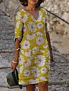 Women\'s Shift Dress Knee Length Dress Blue Purple Yellow Red Light Blue Half Sleeve Print Print Summer V Neck Hot Casual Loose 2021 S M L XL XXL 3XL 4XL 5XL