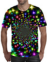 Men\'s T shirt Shirt 3D Print Graphic Plus Size Print Short Sleeve Daily Tops Elegant Exaggerated Round Neck Rainbow