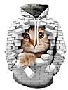 男性用 男女兼用 プルオーバーフーディースウェットシャツ 猫 グラフィック フード付き 祝日 週末 3Dプリント カジュアル パーカー トレーナー 長袖 パープル イエロー ブルー