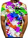 Men\'s T shirt Shirt Rainbow Graphic Print Short Sleeve Daily Tops Streetwear Round Neck Rainbow