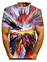Men\'s T shirt Shirt Graphic Short Sleeve Daily Tops Basic Elegant Round Neck Red