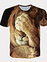 Men's Tee T shirt Shirt 3D Print Graphic Lion Animal Animal Pattern Fashion Short Sleeve Daily Tops Streetwear Exaggerated Cool Round Neck White Yellow Orange