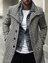 Men\'s Single Breasted Coat Regular Houndstooth Daily Vintage Black Red Green M L XL