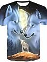 Hombre Camiseta Camisa Impresion 3D Grafico Animal Estampado Manga Corta Diario Tops Chic de Calle Escote Redondo Gris