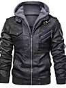 Men\'s Faux Leather Jacket Regular Solid Colored Daily Black Red Brown S M L