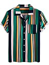 Men\'s Shirt Other Prints Striped Short Sleeve Daily Tops Basic Button Down Collar Green