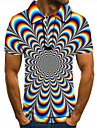 Men's Polo 3D Print Graphic Optical Illusion Print Short Sleeve Daily Tops Basic Rainbow