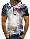 Men\'s Golf Shirt Tennis Shirt 3D Print Graphic Print Short Sleeve Daily Tops Basic Black / White
