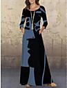 Women\'s Swing Dress Maxi long Dress Blue Black Red Long Sleeve Print Print Fall Round Neck Vintage Loose 2021 M L XL XXL 3XL 4XL