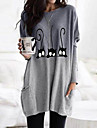 Women's T Shirt Dress Tee Dress Knee Length Dress Cat Graphic Long Sleeve Print Patchwork Print Fall Hot Casual 2021 Blue Purple Blushing Pink Gray S M L XL XXL 3XL 4XL 5XL