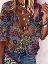 Dámské Halenka Košile Květinový Grafika Květiny Dlouhý rukáv Tisk Košilový límec Základní Na běžné nošení Topy Volné Duhová