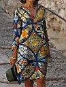 Women\'s Sheath Dress Knee Length Dress Rainbow 3/4 Length Sleeve Floral Print Fall Spring V Neck Elegant 2021 M L XL XXL 3XL
