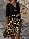 Női Váltó ruha Térdig érő ruha Fekete Féhosszú Virágos Állat Ruházat Nyomtatott Nyár V-alakú meleg Alkalmi vakációs ruhák Bő 2021 M L XL XXL 3XL