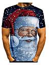 Erkek T gömlek 3D Baskı Grafik 3D Kısa Kollu Noel Üstler Temel Yuvarlak Yaka Siyah / Beyaz