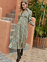 Women\'s Swing Dress Midi Dress Green Long Sleeve Floral Print Fall Winter Shirt Collar Casual Going out Lantern Sleeve 2021 S M L XL