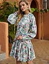 Women\'s A Line Dress Short Mini Dress Green Long Sleeve Floral Ruffle Print Fall Winter Round Neck Casual Going out Lantern Sleeve 2021 S M L XL