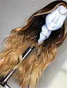 Syntetiska peruker Lockigt Stora vågor Middle Part Spetsfront Peruk Lång Ljusbrun Syntetiskt hår 26 tum Dam Ombre-hår Mittbena Ljusbrunt