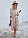 Women\'s A Line Dress Midi Dress White Red Brown Long Sleeve Floral Ruched Lace up Print Fall Spring V Neck Hot Casual Holiday 2021 S M L XL / Cotton / Cotton