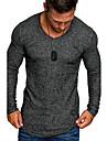 Men\'s T shirt Shirt non-printing Solid Colored Long Sleeve Daily Tops V Neck Black Gray