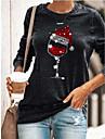 Γυναικεία Φούτερ με Κουκούλα Πουλόβερ Γραφική Καθημερινά Άλλες εκτυπώσεις Βασικό Χριστούγεννα Φούτερ Φούτερ Φαρδιά Πράσινο του τριφυλλιού Μαύρο