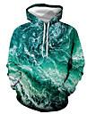 Herre Pullover-hættetrøje Grafisk Hætte Daglig I-byen-tøj 3D-udskrivning Basale Afslappet Hættetrøjer Sweatshirts Lysegrøn