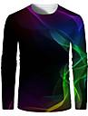 בגדי ריקוד גברים חולצה קצרה חולצה הדפסת תלת מימד גראפי הדפסת 3D מידות גדולות דפוס שרוול ארוך יומי צמרות אלגנטית מוּגזָם צווארון עגול שחור