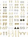 60 pairs stud earrings for women men triangle square circle bar star moon geometric leaf arrow bow cz ball faux pearl earrings set