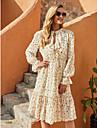 여성용 A 라인 드레스 무릎 길이 드레스 베이지 긴 소매 플로럴 가을 겨울 라운드 넥 우아함 캐쥬얼 데이트 플레어 슬리브 2021 S M L XL / 쉬폰