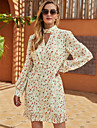 Women\'s Shift Dress Short Mini Dress Beige Long Sleeve Floral Ruffle Print Fall Winter Halter Neck Casual Going out Lantern Sleeve 2021 S M L XL / Chiffon