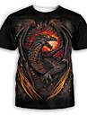 Hombre Camiseta Camisa Impresion 3D Grafico Estampado Manga Corta Fiesta Tops Exagerado Escote Redondo Negro